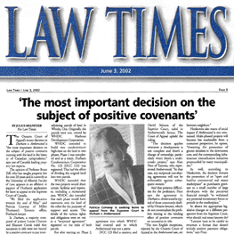 Law Times (June 3, 2002) p9 - Amberwood win in Ont.C.A.