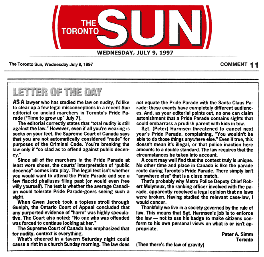 Toronto Sun letter of the day re the rule of law 1997-07-22