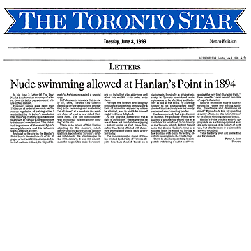 Toronto Star featured letter re Ned Hanlan 1999-06-08