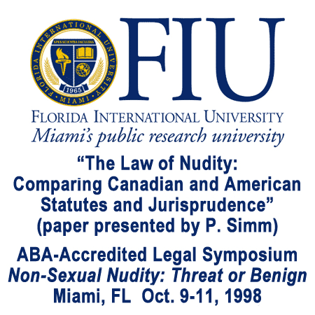 The Law of Nudity (ABA-accredited paper) presented Oct 9 1998 at Florida Intl U symposium