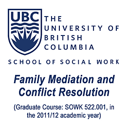 UBC grad course Family Mediation 2011-12 - cites Feld & Simm 1998 Mediating Professional Misconduct Complaints