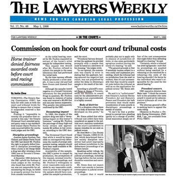 Lawyers Weekly 1998-05-01 - Simm wins Poulton's Judicial Review in Ont.Div.Ct.