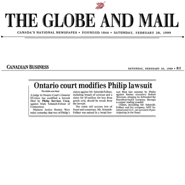 Globe & Mail 1999-02-20 - Simm wins motion to strike various claims in Philip lawsuit