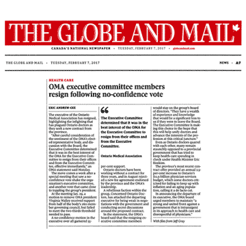 Globe & Mail 2017-02-07 - OMA executive committee resigns