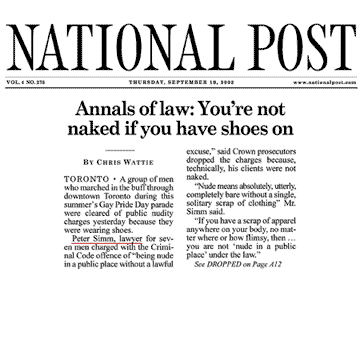 National Post 2002-09-19 p.A1 [front page] (and p.A12) - Simm convinces Crown to drop charges