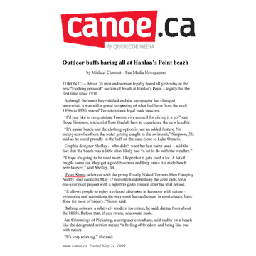 Sun media (canoe.ca) 1999-05-24 - Hanlan's Point Clothing-Optional Zone pre-opens