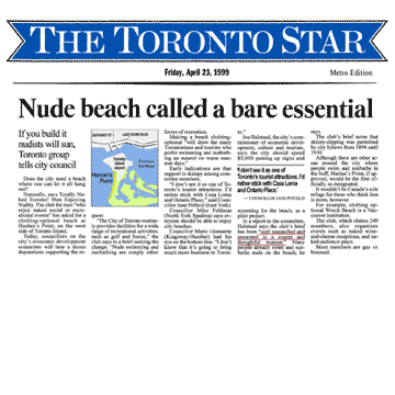 Toronto Star 1999-04-23 p.A1 - Simm's brief to Toronto Council proposes creating official clothing-optional zone at Hanlan's Point