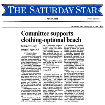 Toronto Star 1999-04-24 - Committee OKs Hanlan's Point CO-zone