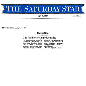 Toronto Star 1999-04-24 - Correction by Toronto Star re misquoting