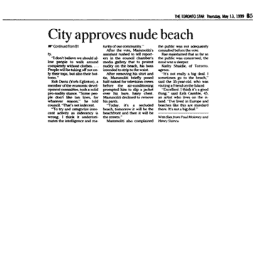 Toronto Star 1999-05-13  p.B5 (continued from B1) - Toronto Council creates Hanlan's Point CO-zone