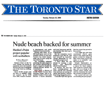 Toronto Star 2000-02-15  - Committee OKs renewing Hanlan's Point CO-zone