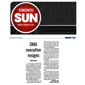 Toronto Sun 2017-02-07 - OMA executive committee resigns