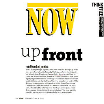Toronto Now Mag 2002 Simm convinces Crown to drop nudity charges against Pride marchers