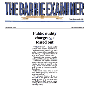 Barrie Examiner  2002-09-20 - Simm convinces Crown to drop nudity charges against Pride marchers
