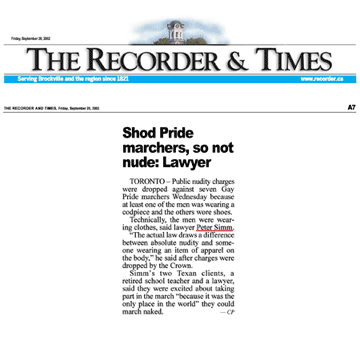 Brockville Recorder & Times 2002-09-20 - Simm convinces Crown to drop nudity charges against Pride marchers
