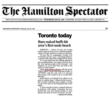 Hamilton Spectator 1999-05-26 - Hanlan's Point CO-zone opens