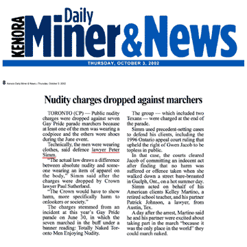 Kenora Daily Miner & News 2002-10-03 - Simm convinces Crown to drop nudity charges against Pride marchers