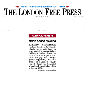 London Free Press 1999-04-09 - Hanlan's Point CO-zone proposed by Simm's brief to Council