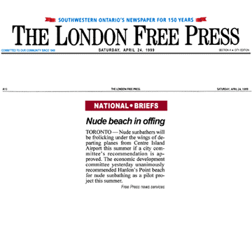 London Free Press 1999-04-24 - Committee OKs Hanlan's Point CO-zone