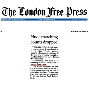 London Free Press 2002-09-20 - Simm convinces Crown to drop nudity charges against Pride marchers