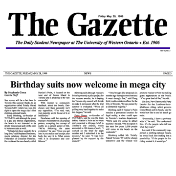 The Gazette [University of Western Ontario, London] 1999-05-28 - Toronto Council creates Hanlan's Point CO-zone