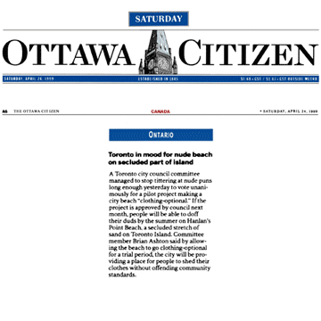 Ottawa Citizen 1999-04-24 - Committee OKs Hanlan's Point CO-zone