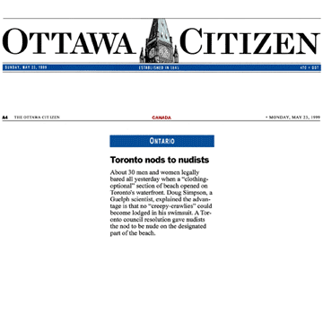 Ottawa Citizen 1999-05-23 - Hanlan's Point CO-zone pre-opens