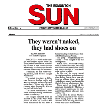 Edmonton Sun 2002-09-20 - Simm convinces Crown to drop nudity charges against Pride marchers