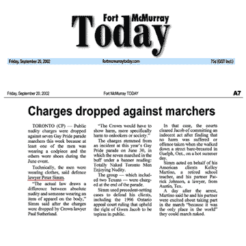 Fort McMurray [Alberta] Today 2002-09-20 - Simm convinces Crown to drop nudity charges against Pride marchers