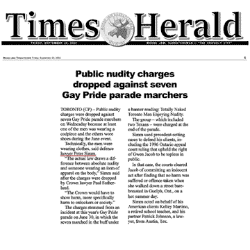 Moose Jaw [Sask,] Times-Herald 2002-09-20 - Simm convinces Crown to drop nudity charges against Pride marchers