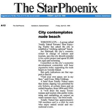 Saskatoon StarPhoenix 1999-04-23 - Simm proposes CO-zone at Hanlan's Point