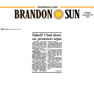 Brandon Sun 2002-09-20 - Simm convinces Crown to drop nudity charges against Pride marchers