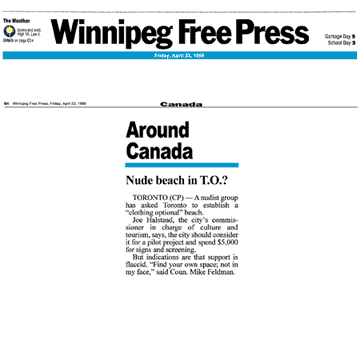 Winnipeg Free Press 1999-04-23 - Simm proposes CO-zone at Hanlan's Point