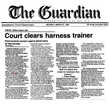 Charlottetown [PEI] Guardian 1998-03-02 - Simm wins Poulton judicial review in Ont.Div.Ct., clearing prominent trainer