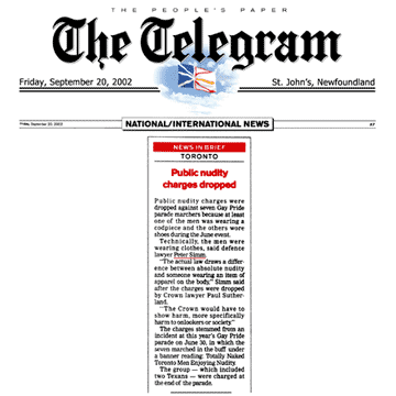 St John's [Nfld.] Telegram 2002-09-20 - Simm convinces Crown to drop nudity charges against Pride marchers