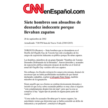 CNNenEspañol.com 2002-09-20 - Simm convinces prosecutors to drop nudity charges against Pride marchers