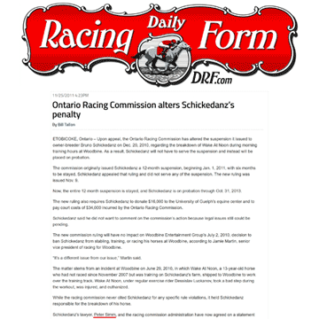 US DRF 2011 Schickedanz penalty modifiedDaily Racing Form (U.S.A.) 2011-11-25 - Schickedanz penalty modified