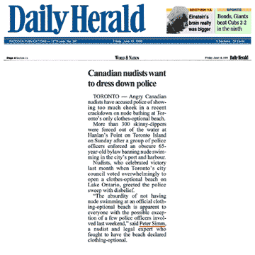 Arlington Heights [suburban Chicago, IL] Daily Herald  p4 1999-06-18 - Police harass swim
