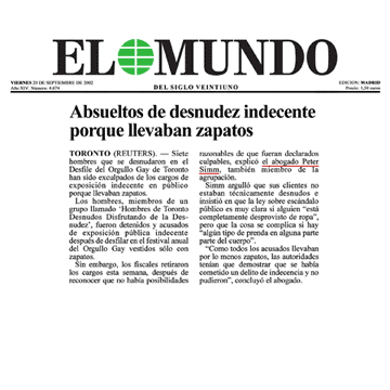 El Mundo [Madrid, Spain; plus an online edition for Latin America] 2002-09-20 - Simm convinces prosecutors to drop charges