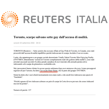 Reuters Italia 2002-09-20 - Simm convinces prosecutors to drop charges