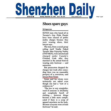 Shenzhen Daily [Guandong Prov., China] 2002-09-23 - Simm convinces prosecutors to drop nudity charges