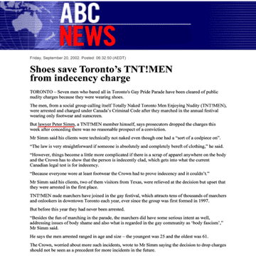 ABC [Australian Broadcasting Corp.] News 2002-09-20 - Simm convinces prosecutors to drop nudity charges against Pride marchers