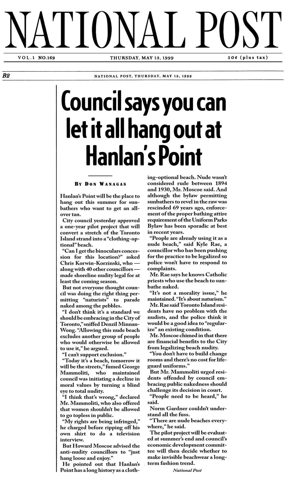 National Post 1999-05-13 pB2 - Simm convinces Toronto Council to create official Clothing-Optional Zone at Hanlan's Point