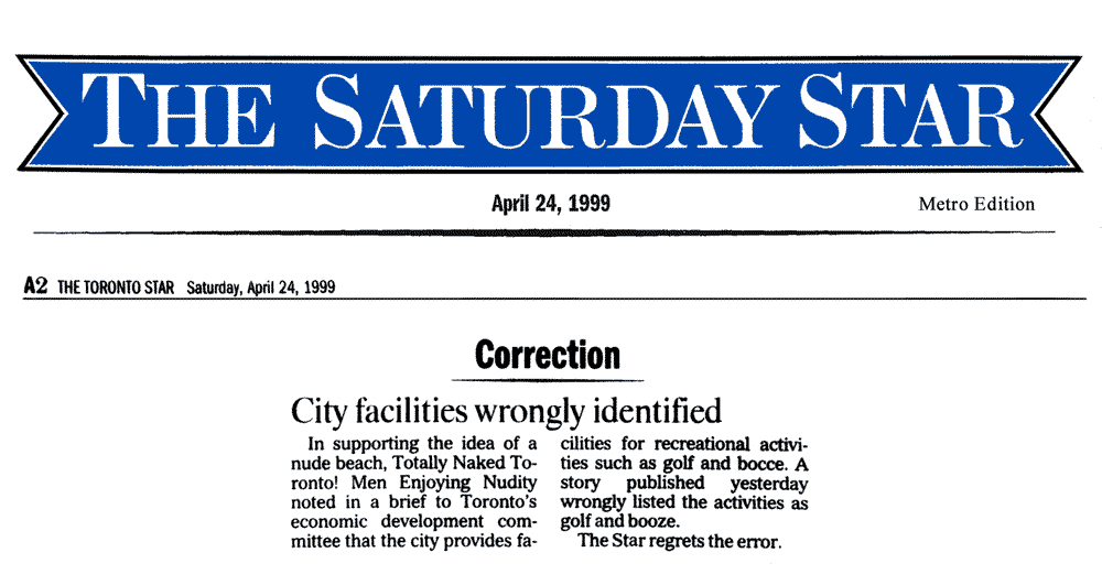 Toronto Star 1999-04-24 - Correction re front-page article of April 23, 1999