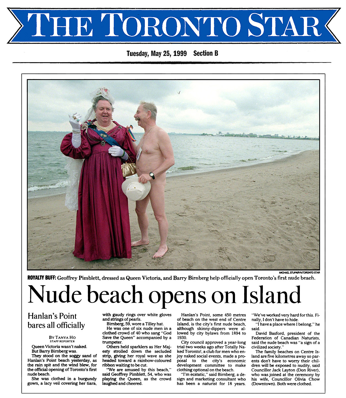 Toronto Star 1999-05-25 - Hanlan's Point CO-zone opens