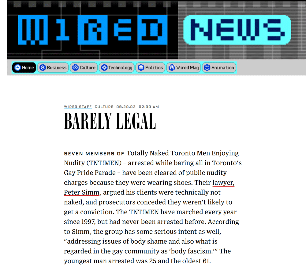 Wired News [Wired Magazine] 2002-09-20 - Simm convinces prosecutors to drop nudity charges against Pride marchers