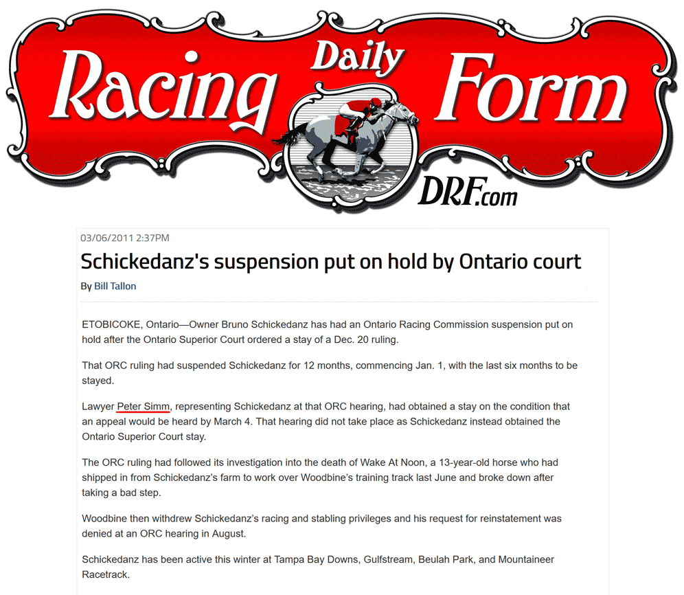 Daily Racing Form (U.S.A.) 2011-03-06 - Simm convinces Court to stay Schickedanz suspension