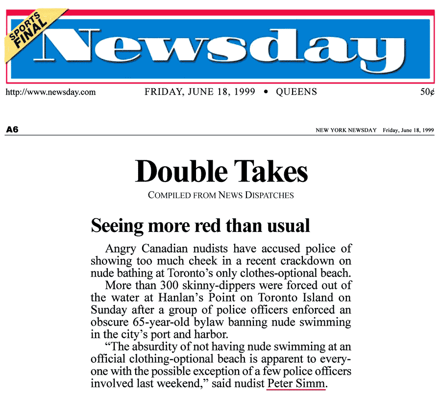 Newsday [New York City] 1999-06-18 - Police harass swim