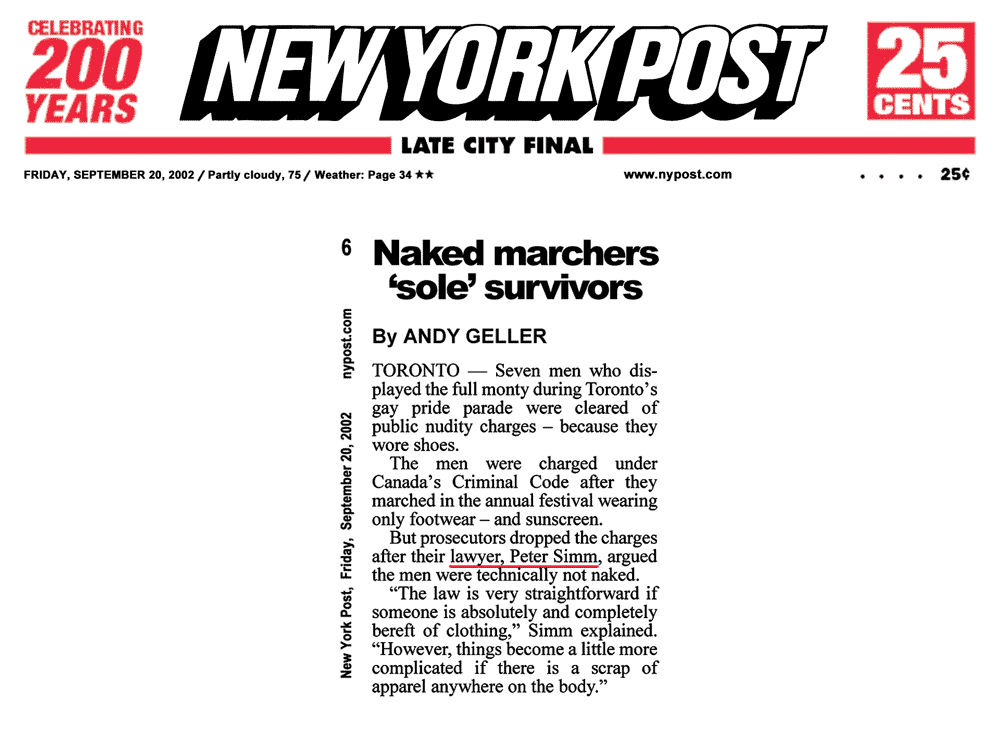 New York Post [NYC] 2002-09-20 p.6 -  Simm convinces prosecutors to drop nudity charges