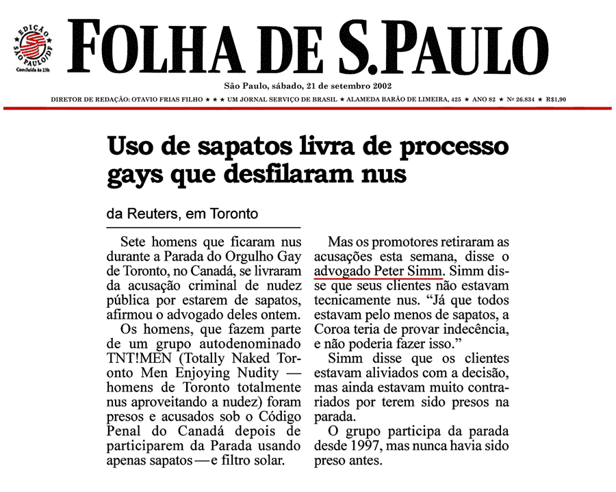 Folha de Sao Paulo [Brazil] 2002-09-21 - Simm convinces prosecutors to drop nudity charges against Pride marchers